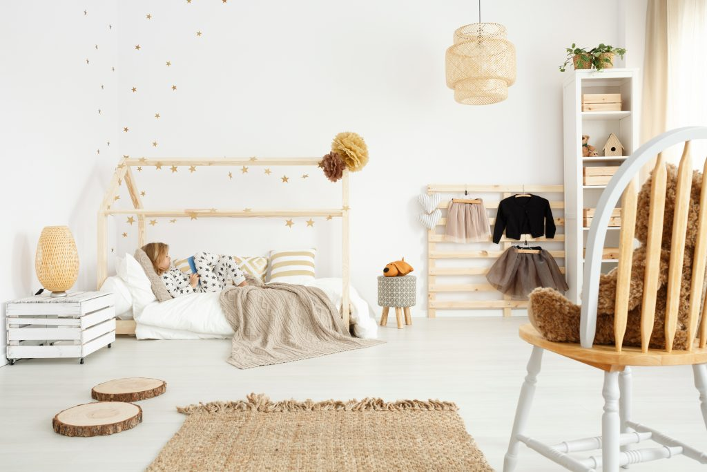Scandinavian bedroom with eco-friendly accessories
